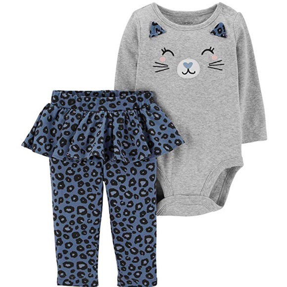 Carters baby girl two piece leggings outfit new leopard and denim 6 months